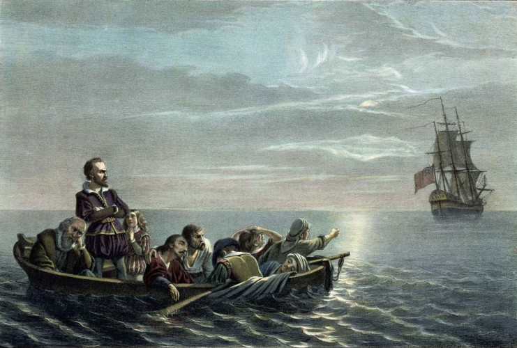 Henry Hudson, his young son and seven crew members cast adrift by mutineers on the Discovery, 1611.